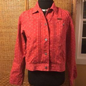 Ralph Lauren red w/tan flowers jean jacket sizeP/S